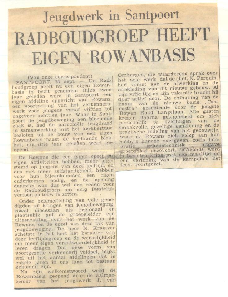 Krantenartikel over de rowanbasis van de Radboudgroep