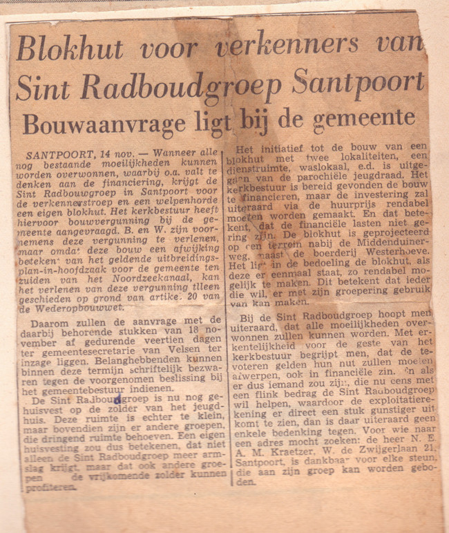 Blokhut Radboudgroep Santpoort vergunning aanvraag