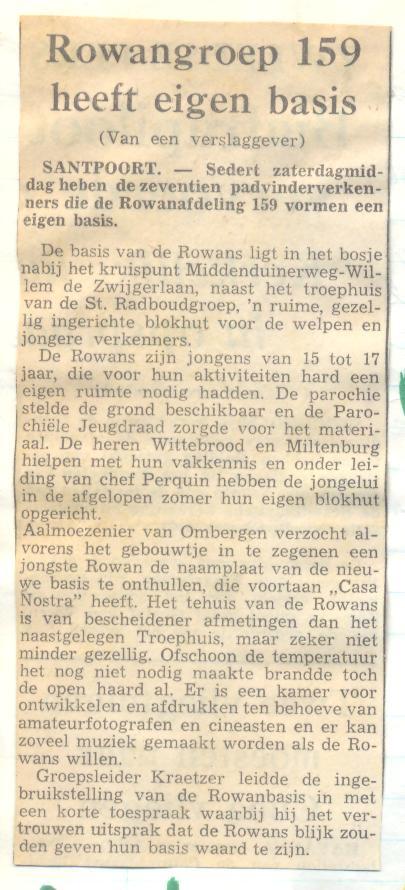 De rowanbsis van de rowans van Scouting St Radboud Santpoort krantenartikel