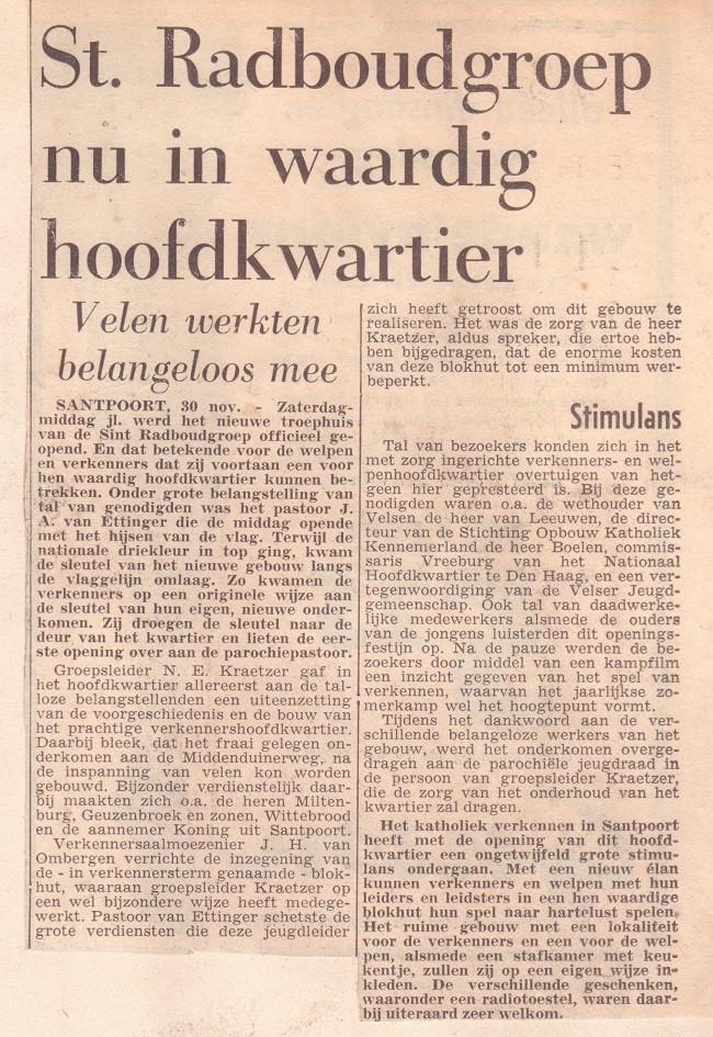 Blokhut Radboudgroep Santpoort krantenartikel