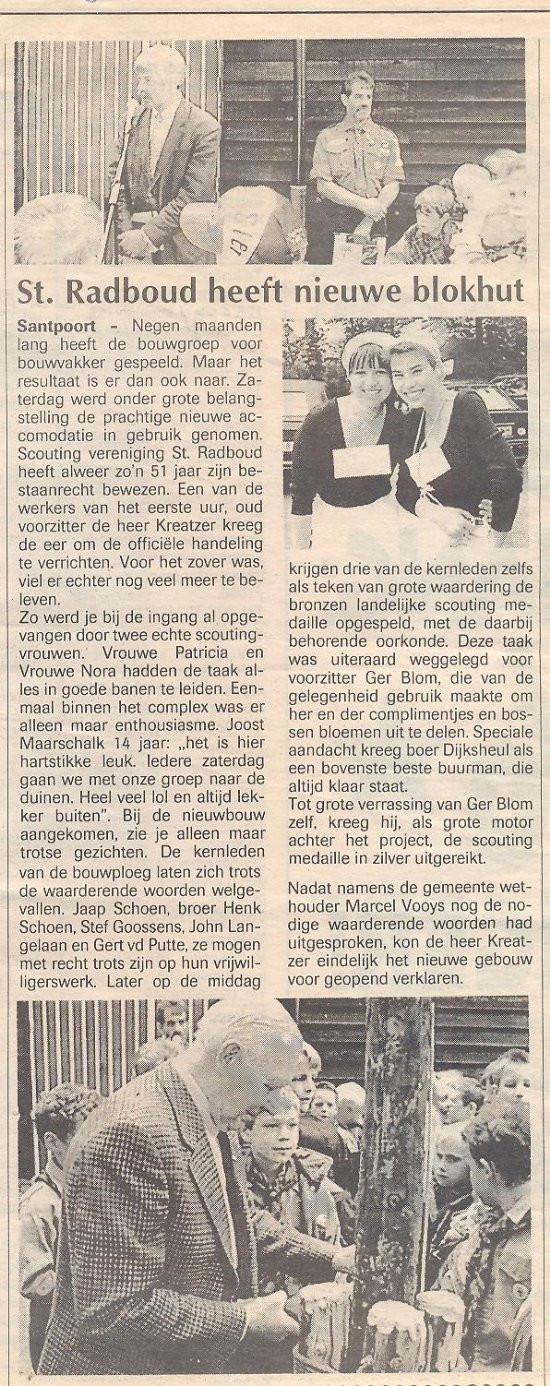 Aanbouw blokhut Scouting Radboud Santpoort 1995
